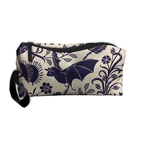 King Fong Halloween Bats Makeup Bag Men/Women, Travel Toiletry Bag, Oxford Pencil Case