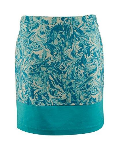 (MICHAEL Michael Kors Womens Swirl Print Colorblock A-Line Skirt Blue 6)