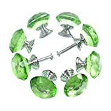 Green Kitchen Cabinets Yazer Transparent Tough Knobs for Cabinets, (Pack of 8), 1.18 Inch / 30mm - Green