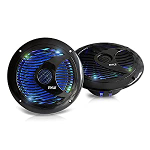 6.5 Inch Dual Marine Speakers - IP44 Waterproof and Weather Resistant Outdoor Audio Stereo Sound System with Built-in Led Lights, 150 Watt Power and Polypropylene Cone - 1 Pair - PLMR6LEW (Black)