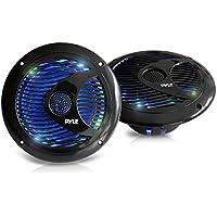Pyle PLMR6LEB Hydra 6.5 Waterproof Marine Grade Speakers, Built-In Multi-Color LED Lights, 150 Watt, Pair