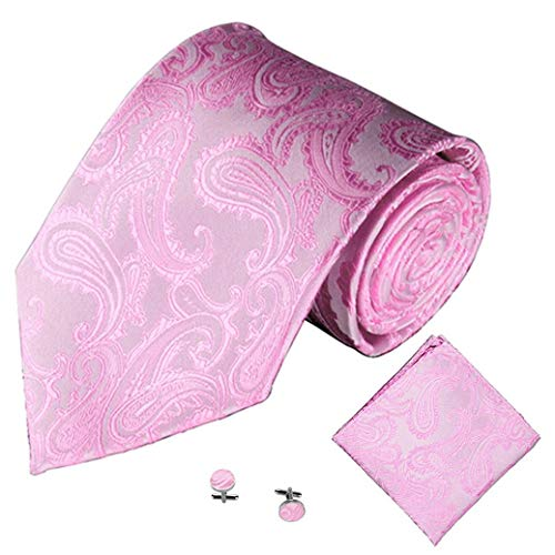 Men Party 3PCS Square I Tie Handkerchief Jacquard Men's Link Tie Classic Yvelands Pocket Cuff YqA4Xwx