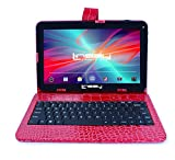 LINSAY NEW F10XHDBKCOREDW Quad Core, Exclusive Bundle 1GB RAM DDR3 8GB Android 4.4 Kit Kat with Red Crocodile Style Keyboard