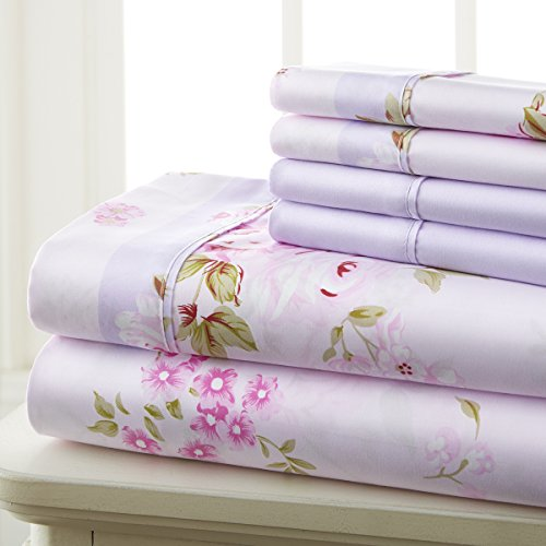 Spirit Linen Hotel 5Th Ave Prestige Home Collection 6 Piece Sheet Set, Queen, Pink Lavender Floral