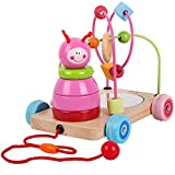4 in 1 Wooden Pull Along Toys Rolling Bead Maze Game Caterpillar Stacking Blocks Toy Set for Baby Toddlers Boys and Girls