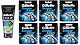 Gillette Body Non Foaming Shave Gel for Men, 5.9 Fl Oz + Sensor Excel Refill Blades 10 Ct. (6 Pack) + FREE Luxury Luffa Loofah Bath Sponge On A Rope, Color May Vary