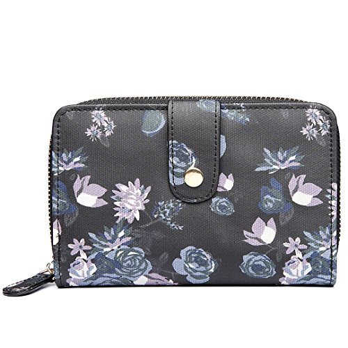 Black Saddle Miss Satchel Rose Lulu Oilcloth Bag Canvas Cross Purse Messegner Black Body Flower 1580 Ladies Grey 16 Flower Purse T7TqFg