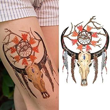 Oottati Tatuajes Temporales Old School Cuernos Indios Atrapasueños ...