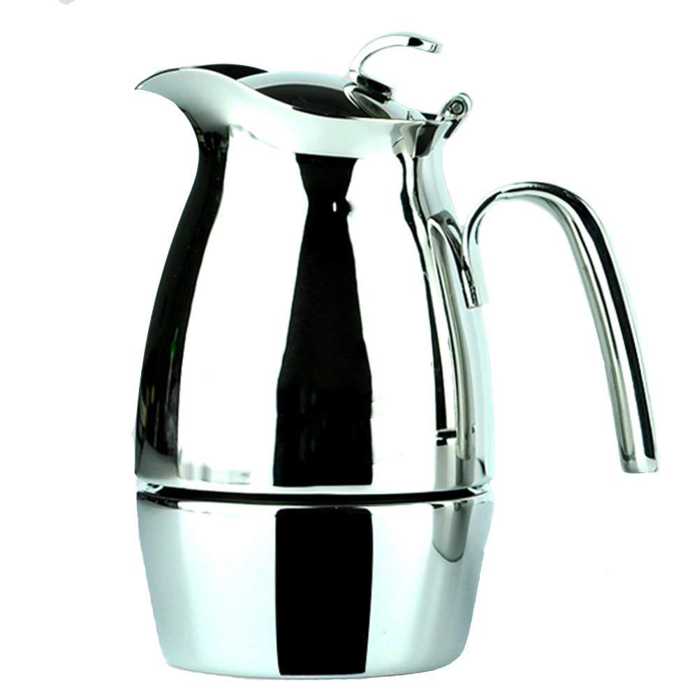 Coffee Pot Tea Pot Coffee Kettle Espresso Coffee Maker Coffee Machine French Coffee Press Mocha Household Stainless Steel Induction Cooker (Color : Stainless Steel, Size : 8.819cm)
