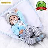 Reborn Baby Doll Boy Lifelike Realistic Silicone Vinyl 22' Weighted Body Wearing Toy Blue Dog cute doll Gift Set for Ages 3+