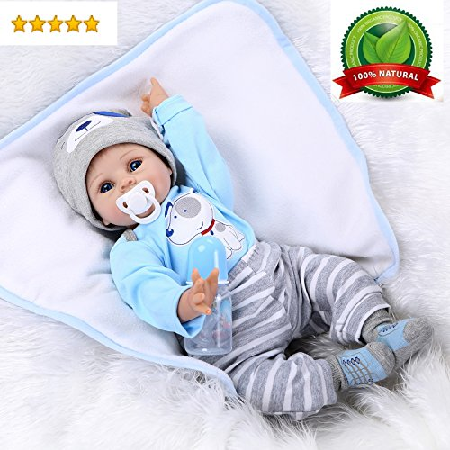 "Reborn Baby Doll Boy Lifelike Realistic Silicone Vinyl 22"" Weighted Body Wearing Toy Blue Dog cute doll Gift Set for Ages 3+"