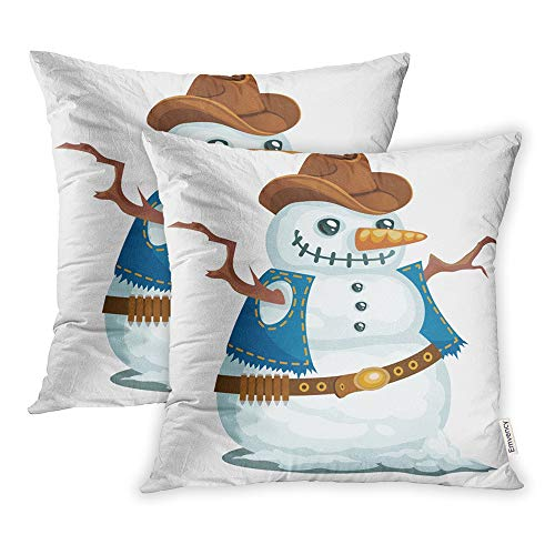 Emvency Set of 2 Decorative Throw Pillow Case Cushion Cover Cowboy Snowman in The Western Style Hat Christmas Man Snow Bandoleer Branches 20x20 Inch Cases Square Pillowcases Covers Two Sides Print