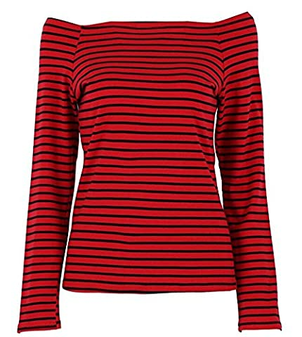 Women's Long Sleeve Stripe Pattern T-Shirt Loose Casual Tops (Label S, Red) - Casual Stripe Pattern Shirts