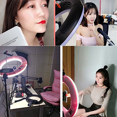Yidoblo 96W 18'' LED Ring Lights Kit FD-480 with Makeup Mirror,Light Stand,Camera Phone Holder & Carrying Bag,Dimmable Bi-Color Lighting for Photo Studio Video Portrait Film Selfie YouTube Photography by yidoblo (Image #2)