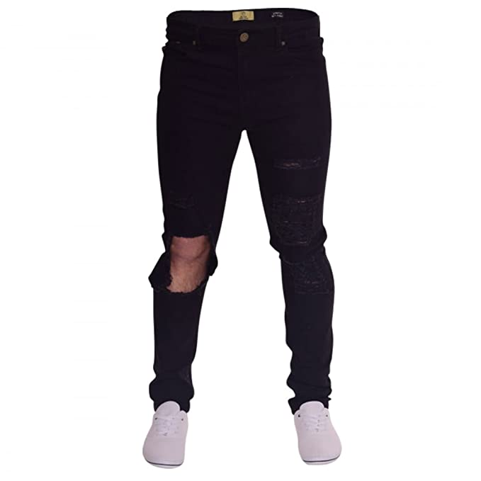 dc9f2827747 Island Trading Mens Skinny Jeans Extreme Open Rips Frayed Cutaway Knee  Ripped Destroyed Distressed Stretch Denim  Amazon.co.uk  Clothing
