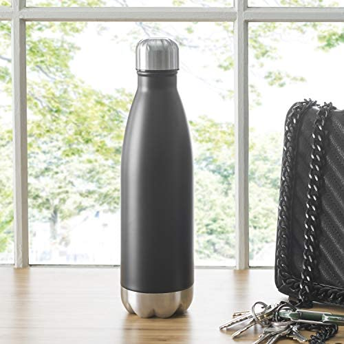 Home Basics 16 Oz. Stainless Steel Vacuum Insulated Water Bottle, Double Wall Wide Mouth BPA Free Thermos Flask Cola Shape Hot & Cold Sports and ...