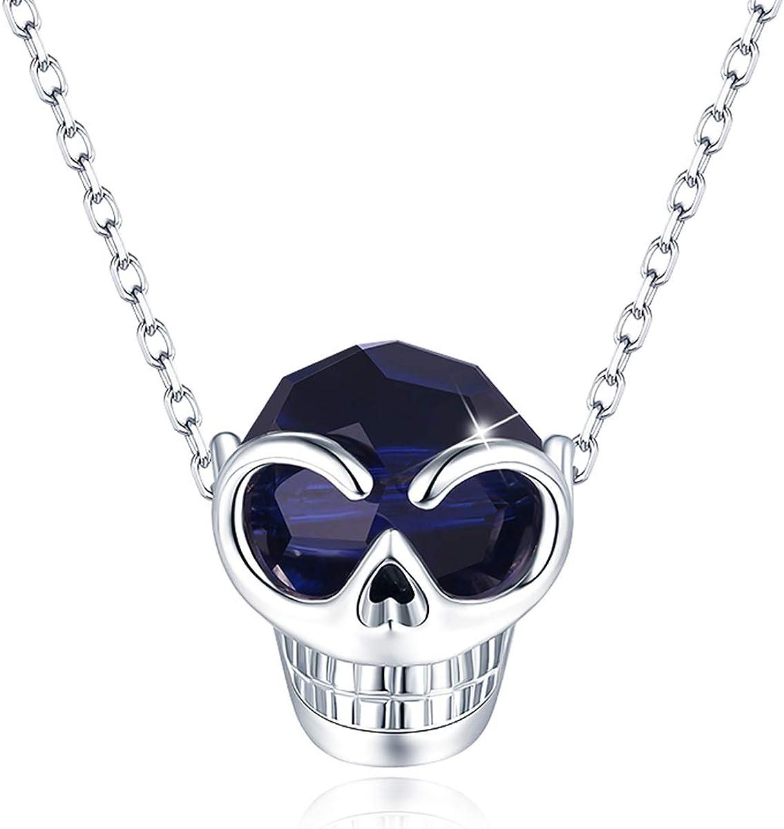 CRYSLOVE Collar de Cristales de Calavera para Mujer, Collar con Colgante de Cabeza de Cráneo Hipoalergénicos de Plata de Ley 925 para Cumpleaños, Día de San Valentín,Aniversario, Navidad