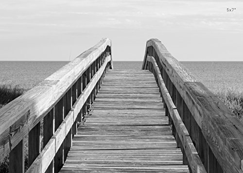 Ocean beach pier picture, wooden walkway art print, photo paper or canvas wall décor, 5x7 to ()