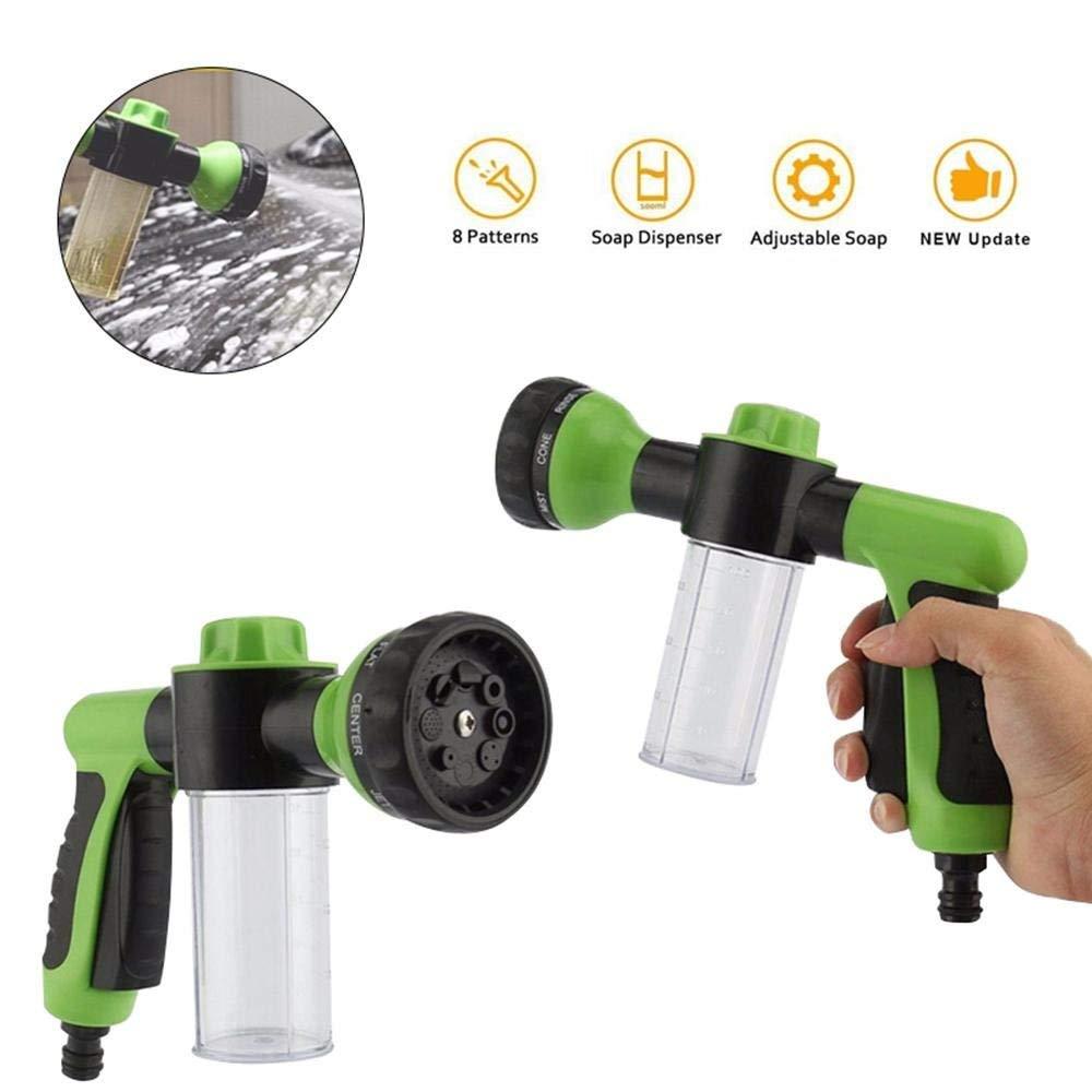 HCNOCNB Garden Hose Foam Nozzle - Foam Cannon with 3.5oz/100cc Bottle, Garden Hose Nozzle Sprayer, 8 Watering Patterns for Cars Washing, Pets Shower, Plants Watering