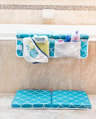 Baby Bath Kneeling Pad with Elbow Rest - Extra Long - Mermaid Design in Teal Blue - with Bonus Mesh Bath Toy Organizer - Wonderful Gift Set for Parents with a Infant, Toddler - by Fins + Tales (Image #2)