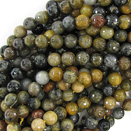 buyallstore Faceted Petrified Wood Agate Round Beads 15
