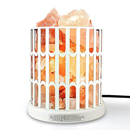 Crystal Decor Natural Himalayan Salt Lamp Metal Basket, Release Negative Ions, with Dimmer Switch, UL-Listed Cord, 2 Bulbs, for Christmas Gifts & Home Decoration (White Metal Fence)