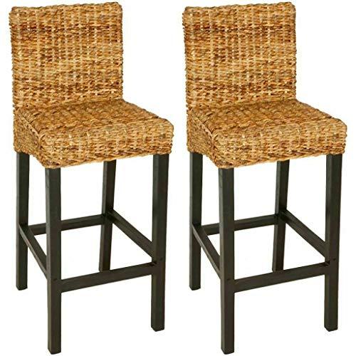 Richman789 Brown Rattan Wicker Wood Bar Stool Breakfast Backrest High Chair Kitchen Furniture 2 ()
