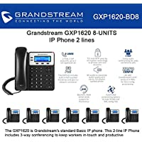 Grandstream GXP1620, 2 SIP acct., SMB IP Phone 3-way, Multi-language Bundle of 8