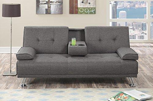 Poundex Imma Gray Slate Polyfiber Adjustable Sofa Bed