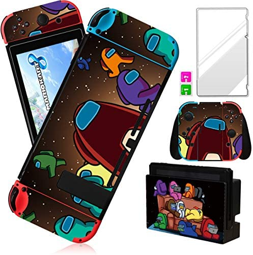 oqpa for Nintendo Switch Skin Cute Kawaii Cartoon Character Among Design Sticker,Fun Funny Fashion Cool Switch Game Skins for Us Girls Boys Kids Stickers+Tempered Glass Film for Nintendo Switch (Sofa)