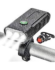 Luces Bicicleta Delantera y Trasera Linterna Bicicleta Recargable, IPX5 Resistente con 3 Modes, Bocina y Luz para Carretera y Montaña