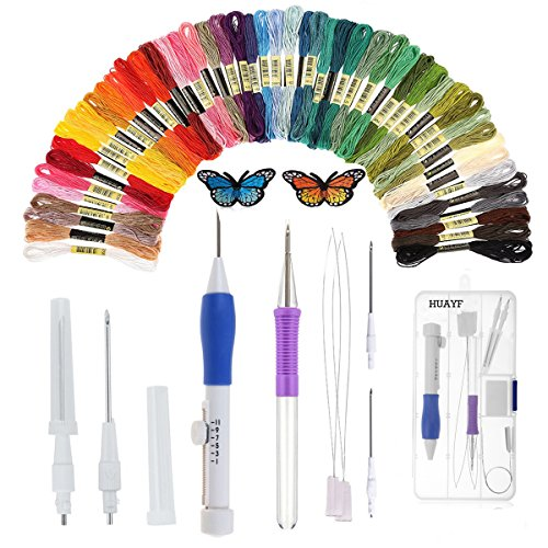 Magic Embroidery Pen, HUAYF Embroidery Pen Punch Needle Embroidered patterns punch needle Set Including 50 Color Threads for threaders DIY sewing