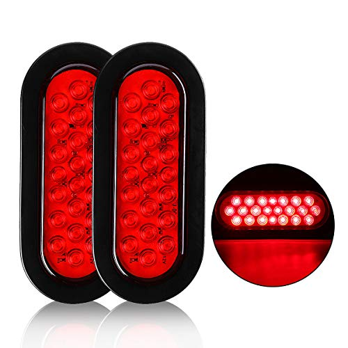 Audew 2Pcs 6-inch Oval 22-LED Trailer Tail Lights, Red Brakes/Marker Lights for Truck,Boat,Trailer,Bus,IP65 Waterproof,DC 12V (22 LED)