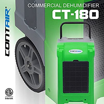 Contair CT-180G Commercial Grade Dehumidifier Humidity Control Automatic Pump Moisture Remover Extractor Hydroponics, Green