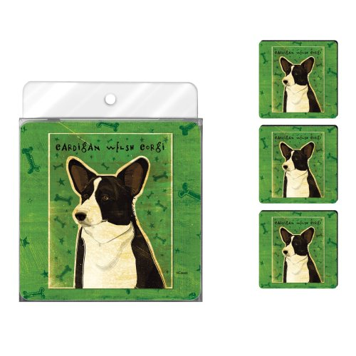 (Tree-Free Greetings NC38035 John W. Golden 4-Pack Artful Coaster Set, Cardigan Welsh Corgi)