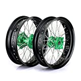 TARAZON 17'' & 17'' Supermoto Complete Wheels Set Rims Green Hubs for Kawasaki KX250F KX450F 2006-2016 KX125 KX250 2006-2013