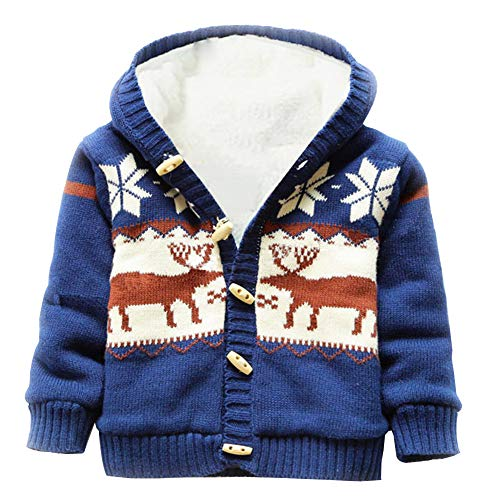 JGJSTAR Baby Deer Christmas Sweaters Cardigan 100% Cotton Toddler Boys Girls Jacket (2T-3T(Label 4A), Blue) (Infant Christmas Sweaters)