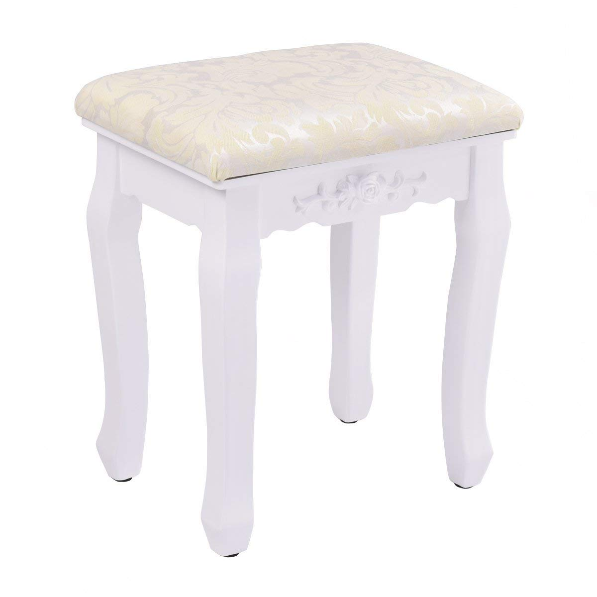 Casart Vanity Stool Makeup Bench Dressing Stools Retro Wave Foot Floor Pad for Scratch Solid Pine Wood Legs Thick Padded Cushioned Chair Piano Seat Bathroom Bedroom Large Vanity Benches White
