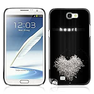 Graphic4You Heart On Black Background Design Hard Case Cover for Samsung Galaxy Note 2 Note II
