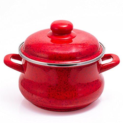 Khokhloma Vitross Imperio Enamelware Cooking Pot Set Stock Pot Set with Lid 4.2-qt. 4 L Enameled Steel
