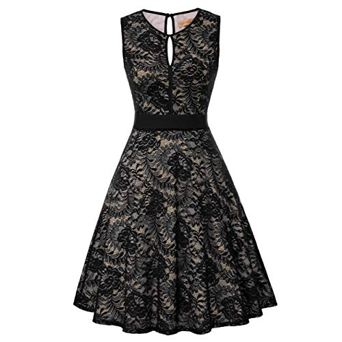 Women Plus Size Vintage Sleeveless Dress Floral Lace Wedding Guest Dresses Size XL, Black-2
