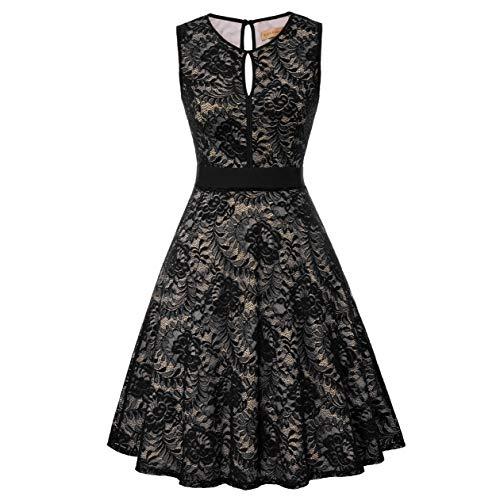 - Women Plus Size Vintage Sleeveless Dress Floral Lace Wedding Guest Dresses Size XL, Black-2