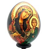 Hand Painted Holy Mother RELIGIOUS Icon EGG with stand made in Russia WOOD Gold Leaf