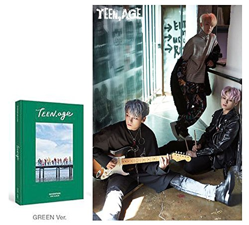Price comparison product image 2nd SEVENTEEN Album [Green Ver.] TEEN AGE CD + Official Poster + Photo Book + Photo Card + Folding Poster + Name Sticker + Portrait Desktop Stand + Gift