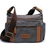 Kemy's Canvas Crossbody Travel Bags for Women Over the Body Purses Shoulder Satchel Messenger, Medium, Gray
