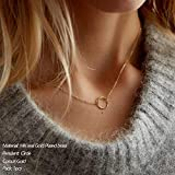 Turandoss Gold Plated Circle Necklace Delicate