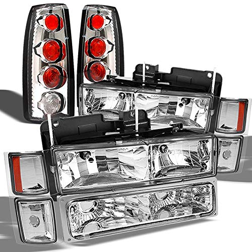 Xtune for 1992-1999 Chevy Tahoe Suburban Headlights + Chrome Altezza Style Tail Lights 1993 1994 1995 1996 1997 1998