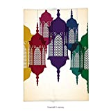 Custom printed Throw Blanket with Lantern Decor Collection Antique Colorful Arabian Lantern Hang on Sky Traditional Islamic Art Design Purple Red Yellow Green Super soft and Cozy Fleece Blanket