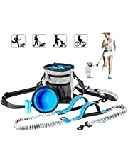 Hands Free Dog Leash with Training Treat Pouch, Leash Reflective Shock Bungee Endure Up to 180 lbs, Adjustable Design Fits Waist Sizes, Comfort Safe Dual Handle, Waist Belt Bonus Collapsible Bowl, Waste Bags for Running Walking Hiking (Hands Free Dog Leash)
