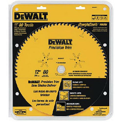(DEWALT DW3232PT Precision Trim 12-Inch 80 Tooth ATB Crosscutting Saw Blade with 1-Inch Arbor and Tough Coat Finish)